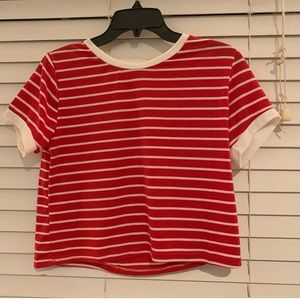 Red, crop top. Never worn. Just bought.